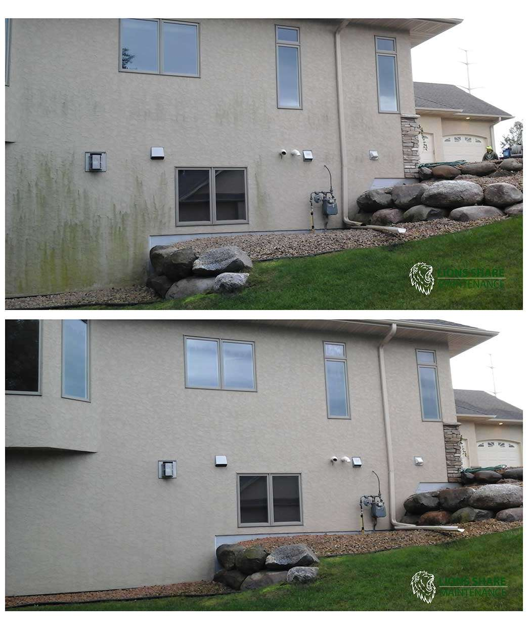 Side of home cleaning on stucco